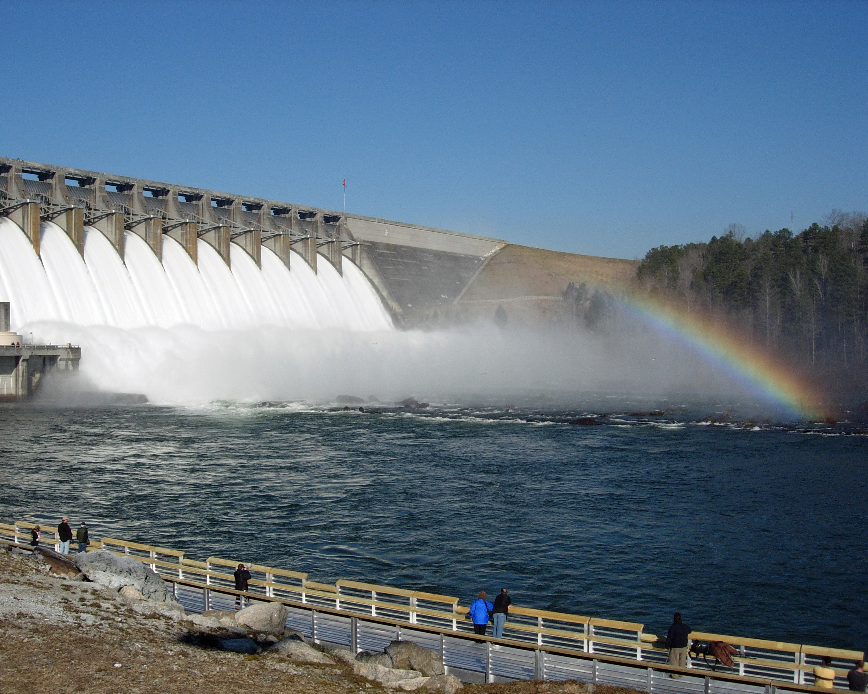A rainbow hovers over Hartwell Dam, as it is today. (Photo/Sara Beth Burrell)