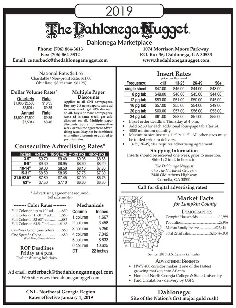 Advertise | The Dahlonega Nugget, Dahlonega, GA
