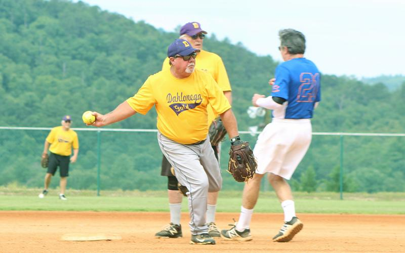 "Dahlonega Gold player Mike ""Walloping"" Williams thinks about turning a double play after getting an unassisted out at second base versus the Lakers in league play."