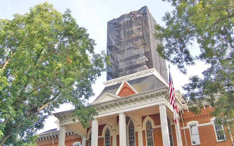 The steeple on the Price Memorial building at UNG's Dahlonega campus has been restored with a new gold layer and structural repairs.