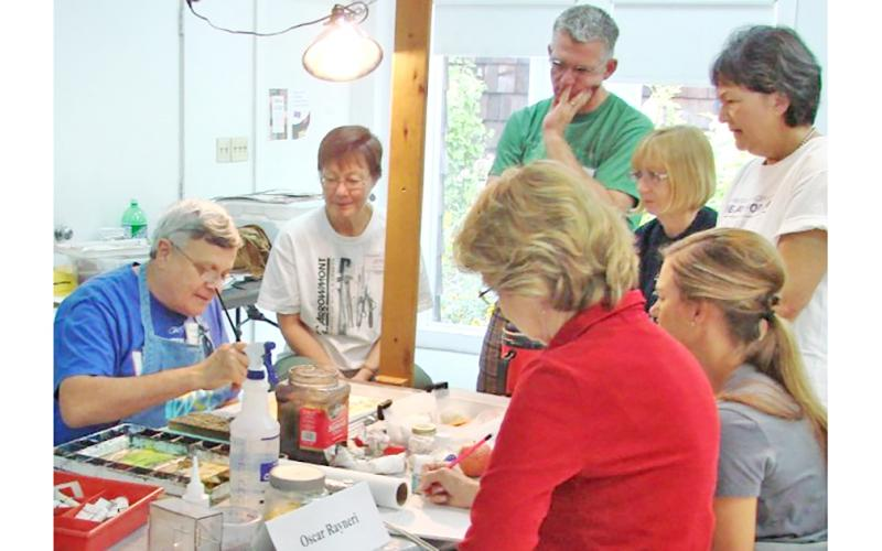 Watercolor artist Oscar Rayneri teaches students at Arrowmont School of Arts and Crafts in Gatlinburg, Tenn.