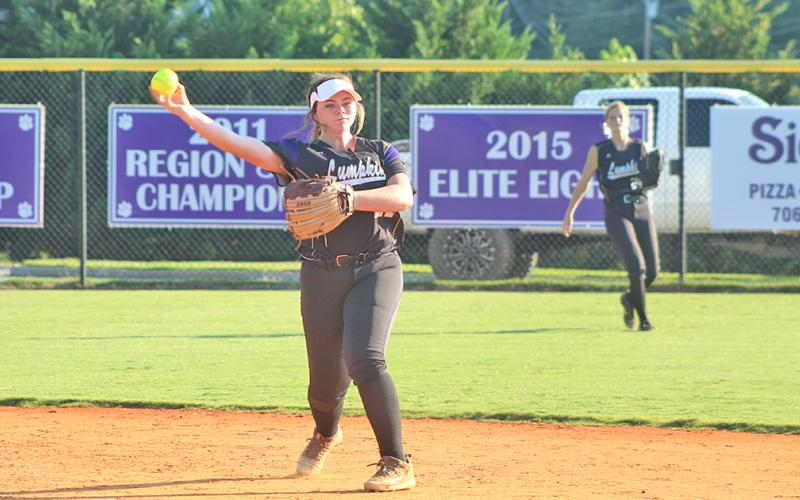 Lumpkin County second baseman Alyssa Pulley throws the ball to first base for an out after making a nice defensive play.