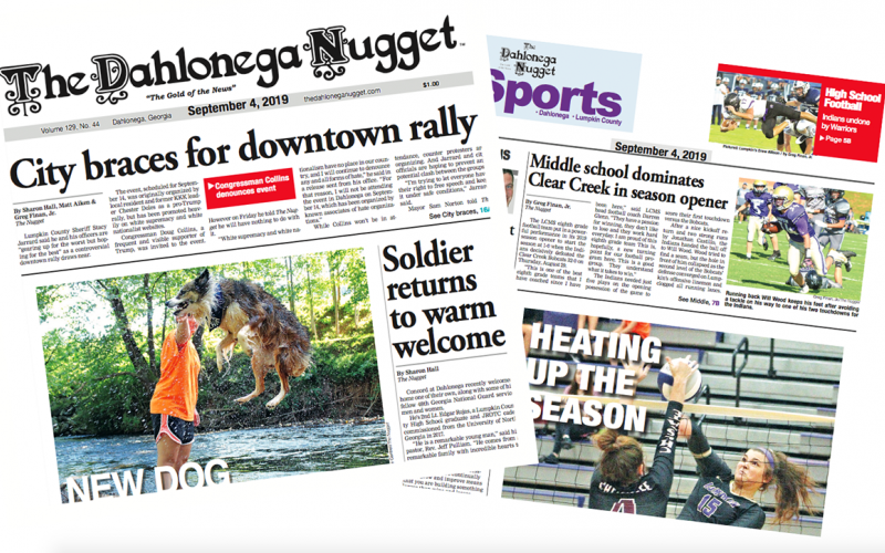 THE SEPTEMBER 4 EDITION OF THE DAHLONEGA NUGGET IS OUT NOW. CHECK OUT THIS WEEK'S ARTICLES