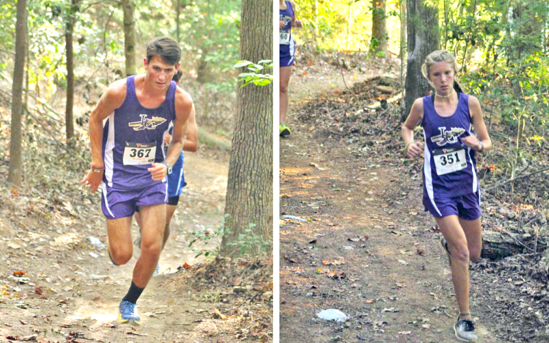 LEFT: Kyle Trammell makes his way uphill on a grueling course at the Indian Invitational. Trammell led the Indians with a fifth place overall finish. RIGHT: Abbie Hilchie makes her way through a difficult part of the course on her way to a first place finish at the Indian Invitational.