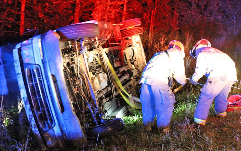 The Rangers of Camp Frank D. Merrill held a mass casualty training exercise on Cavender Creek Road early Tuesday, Oct. 8. The simulation involved an overturned bus, as Rangers rescued volunteers from UNG's Corps of Cadets playing the role of injured passengers from the wreckage.