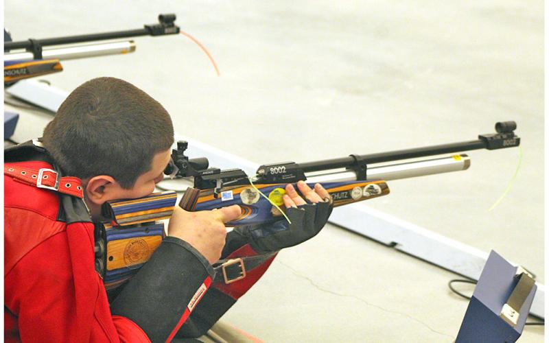 Lumpkin rifle team member Levi Caldwell sets his sights on his target during a recent match. Caldwell shot 267 in the Indians' win over Parkview last week.