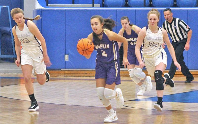 Lumpkin standout Isabel Davenport flies down the court for some transition points after recording a steal during Lumpkin's second round win over Walhalla, S.C. on Friday, Dec. 27.
