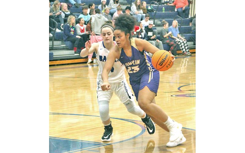 Freshman Kate Jackson drives to the basket for two of her 17 points in the Lady Indians' win over the Banks County Lady Leopards on the road on Friday, Dec. 20.