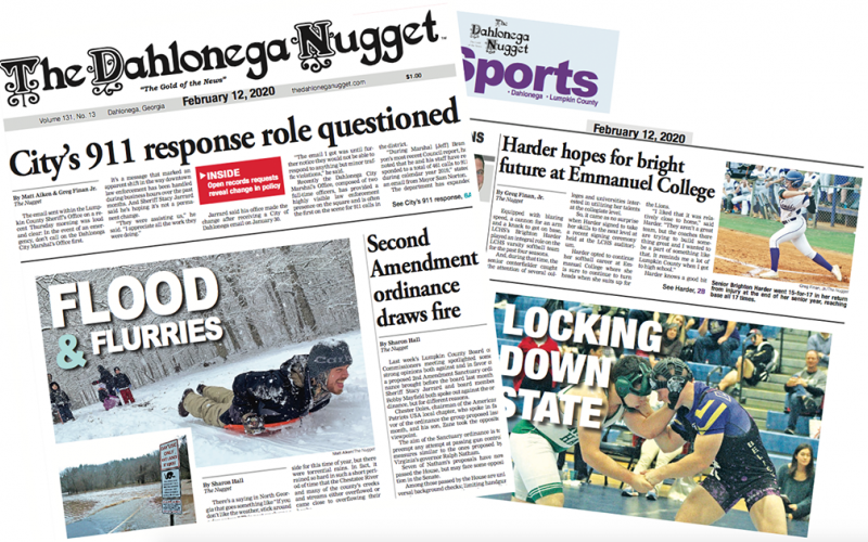 THE FEBRUARY 12 EDITION OF THE DAHLONEGA NUGGET IS OUT NOW. CHECK OUT THIS WEEK'S ARTICLES