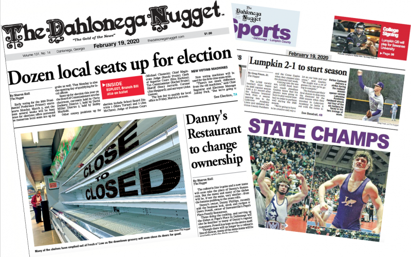THE FEBRUARY 19 EDITION OF THE DAHLONEGA NUGGET IS OUT NOW. CHECK OUT THIS WEEK'S ARTICLES