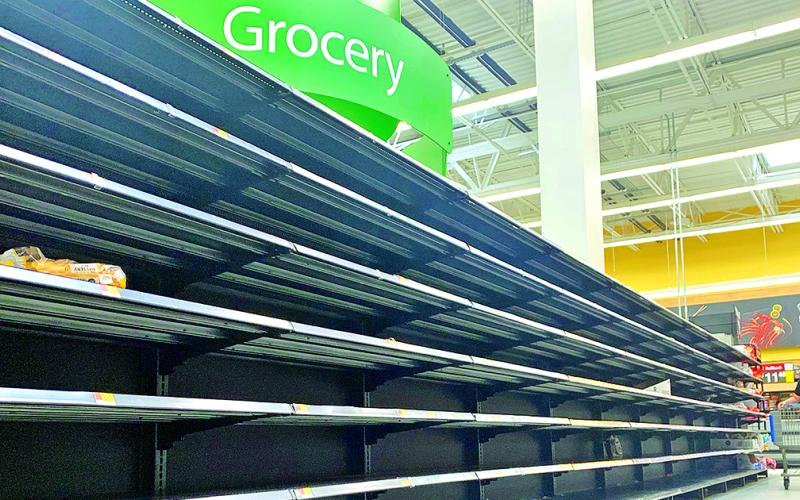 The bread aisle is often barren at Walmart these days as locals have been stocking up on supplies while the coronavirus looms.