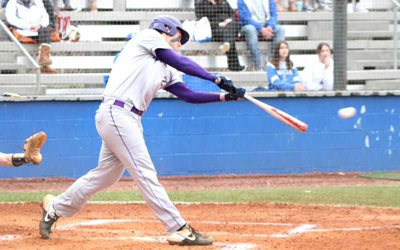 Caleb Childs rips a two-run double down the left field line to give Lumpkin an early 2-0 lead over the Fannin County Rebels. The Indians eventually won the region matchup 5-4 after the game was called due to heavy rain and lightning.
