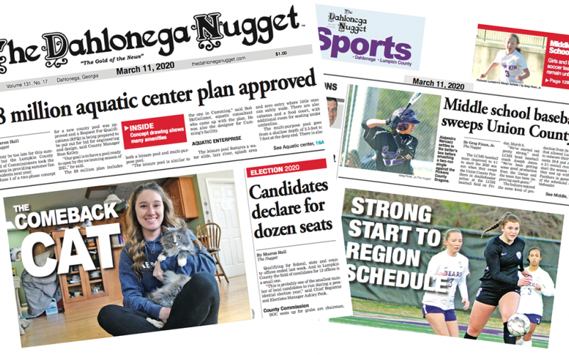 THE MARCH 11 EDITION OF THE DAHLONEGA NUGGET IS OUT NOW. CHECK OUT THIS WEEK'S ARTICLES