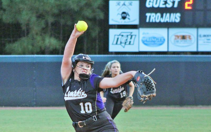 Emmie Graham delivers a pitch versus North Hall. The Lady Indians' ace was dominant once again.