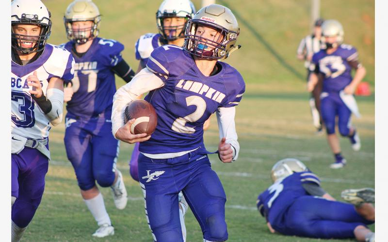 Lumpkin County eighth grader Cal Faulkner has the tools to develop into a strong quarterback, says LCMS coach Darren Glenn.