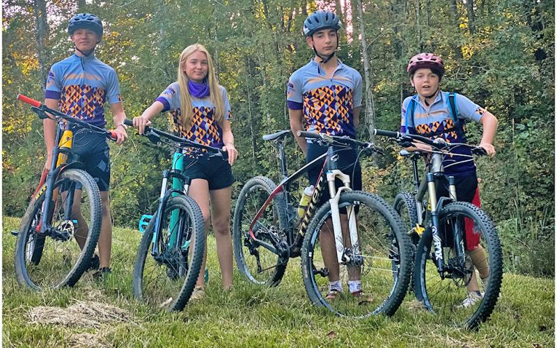 From left, Cru Norton, Shiloh Claussen, Connor Bagley and Devin White represented Gold City Composite on race days this fall in the new mountain bike team's inaugural season racing in the Georgia Interscholastic Cycling League in 2020.