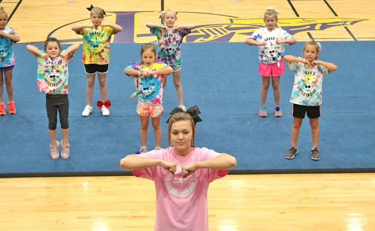 LCHS sophomore Alyssa Caldwell leads campers in a dance routine during a Friday night performance that showcased everything participants of Annah's Cheer Camp learned during the four-day camp.