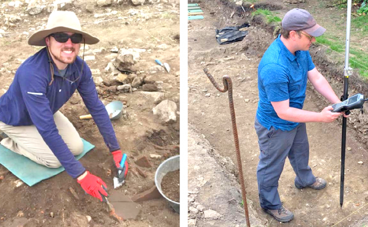 LEFT: Brendan Harris excavates at Roman Doclea in Montenegro. RIGHT: David Grogan uses electronic mapping gear on the site of Roman-era Lincoln, England.