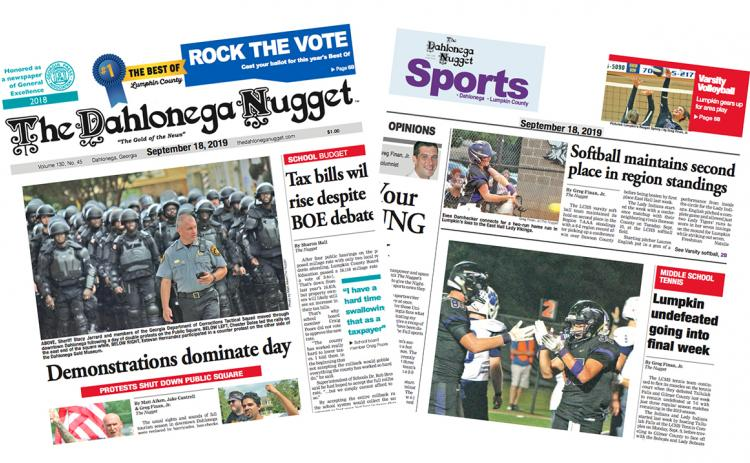 THE SEPTEMBER 18 EDITION OF THE DAHLONEGA NUGGET IS OUT NOW. CHECK OUT THIS WEEK'S ARTICLES