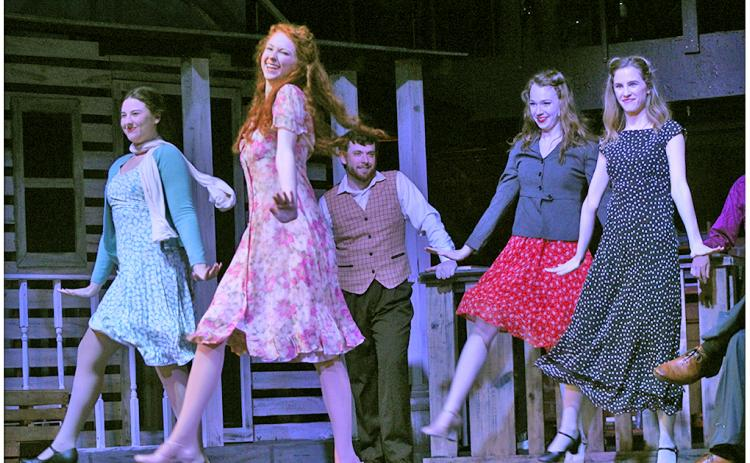 The musical ensemble for the Holly's production of Bright Star sets the tone of Appalachia in the south for the show, which is set in 1940s North Carolina, with several upbeat dance numbers, like this square dance scene, showcasing the period.