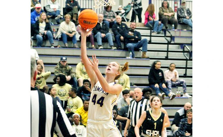 Senior center Madisyn Echols scores two of her six points in the Lady Indians' loss to region foe East Hall last Friday night.