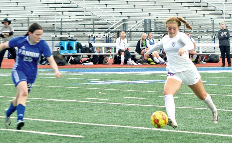 Midfielder Ashley Read takes a shot on goal versus the Fannin County Lady Rebels.
