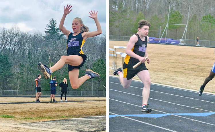 LEFT: Lumpkin County Middle School's Kathryn Christian flies through the air on her way to a first place finish in the Girls Long Jump during the LCMS track & field team's home meet at the high school. RIGHT: Lumpkin County runner Steven Yorkey turns on the jets on the final stretch to earn himself a first place finish in the Boys 100 meter dash.