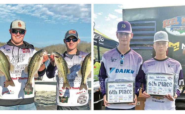 LEFT: Lumpkin bass fishing team duo Harris Taylor and Avery Mills show off their bounty after a day on the lake during a tournament this season.  RIGHT: Bass fishing team duo Kyle Trammell and Garrett Harris celebrate a sixth place finish at a tournament this past season.
