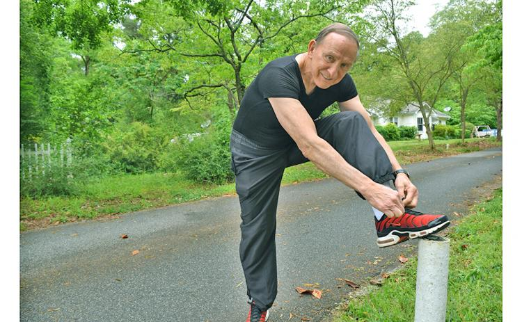 Local resident Bud Stumbaugh may be closing in on his 80th birthday but he's showing no signs of slowing his longtime workout routine that includes a daily three-mile jog.