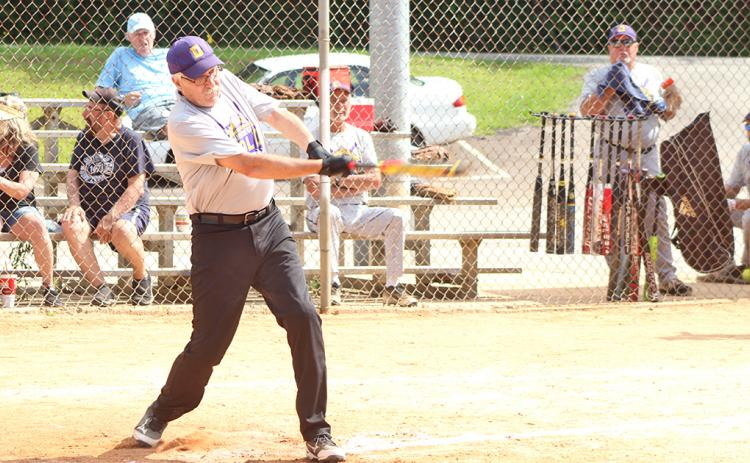 "Jim ""Junkyard Dog"" Ehlers connects for one of his four hits in the first game of a two-game set versus the Franklin Old Bones. Ehlers went 4-for-4 at the plate for Dahonega Gold in game one."
