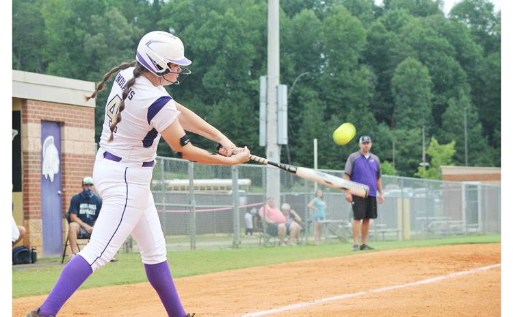 Grace Jones delivers a bases-clearing double in Lumpkin's 15-0 run-rule victory over the West Hall Lady Spartans last week.