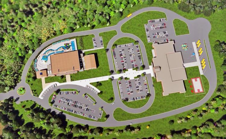 This screen capture from the recent video released by Lumpkin County Schools shows a view of the proposed property design for the new elementary school and county pool.