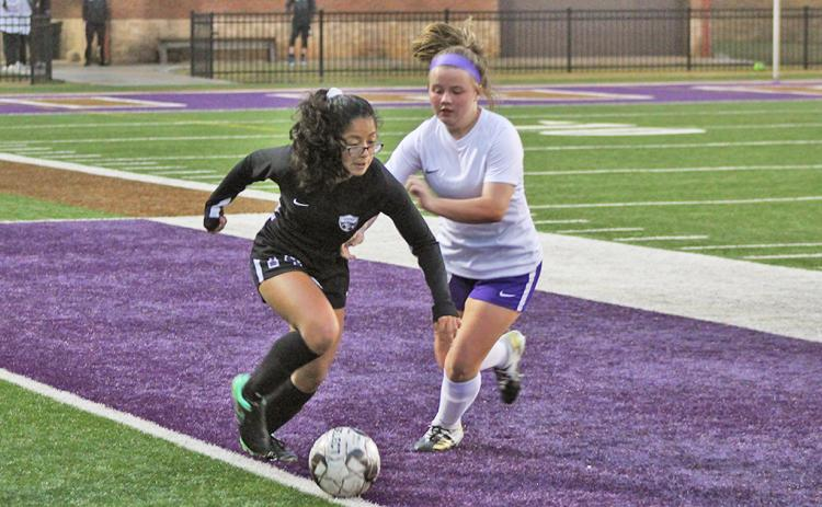 Jessica Ramirez looks to retain possession and advance the ball past midfield. Ramirez and the rest of the Indians' defense held on for its second clean sheet in a row, winning 3-0 on Friday after a 9-0 win one day earlier.